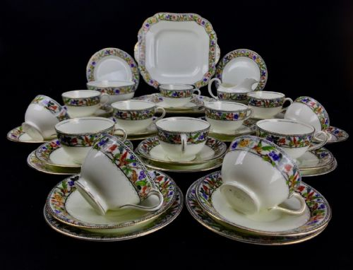 Antique Aynsley Tea Set for 12 People / Art Deco / Afternoon Tea / Trio / Jug